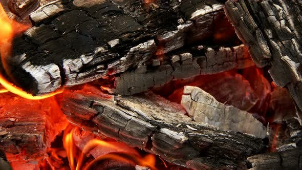Wooden Fire Flames and Smoke