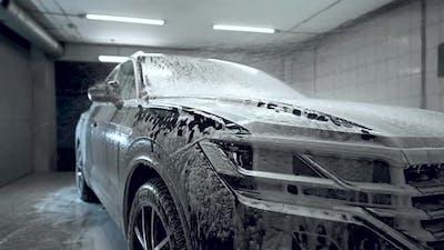 Close Up Car Washing Process