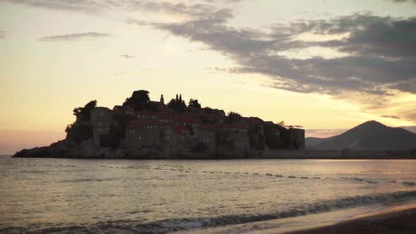 Thumbnail for Sveti Stefan Is a Tourist Town By the Sea. Montenegro. Evening