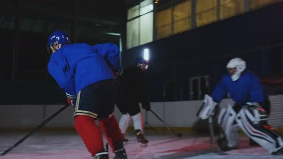 Thumbnail for Professional Hockey Forward Technically Beats the Defender and Quickly Goes To the Hockey Goal