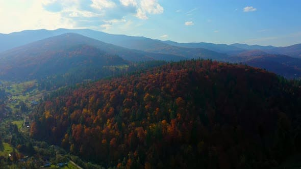 Cover Image for Aerial Drone Video Flying Over Carpathians Mountains, Ukraine, Europe