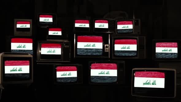 Flag of Iraq and Vintage TVs.