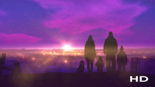 Thumbnail for Family On The Evening Winter Walk HD