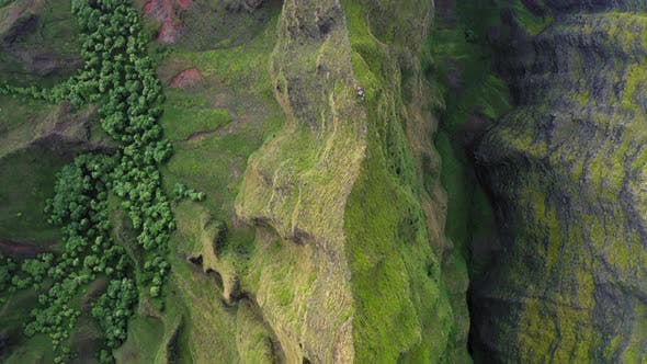 Thumbnail for Topdown Aerial View Over Exotic Tropical Mountain Relief Covered with Vibrant Green.
