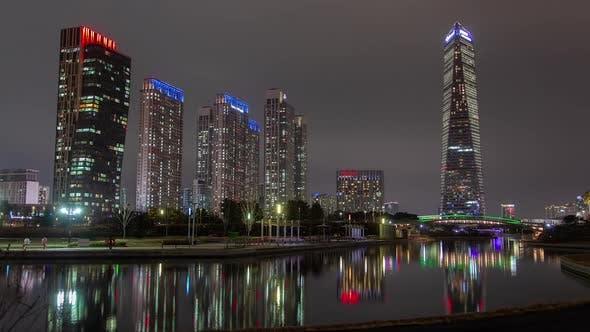 Thumbnail for Incheon, Korea Illumination Skyscrapers at Night
