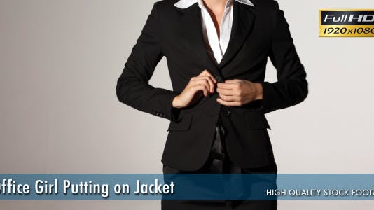Office Girl Putting on Jacket