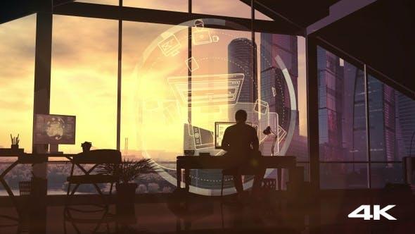 Web designer silhouette at work 4K