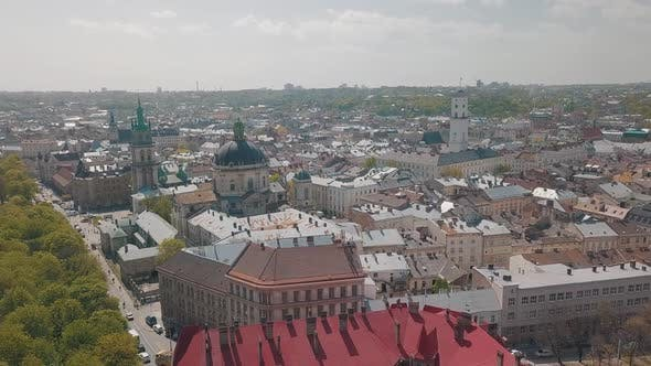 Thumbnail for Lvov, Ukraine. Aerial City Lviv, Ukraine. Panorama of the Old Town. Dominican