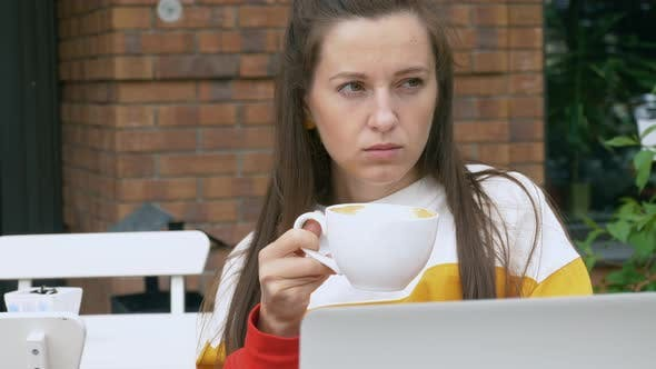 Thumbnail for Woman Drink Coffee and Using Laptop