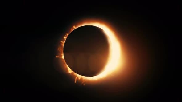 Vue abstraite animée d'une éclipse solaire totale