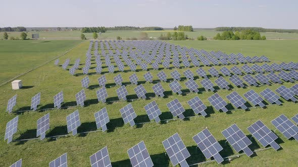 Thumbnail for Solar Battery Field Generates Electricity