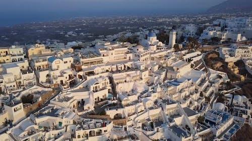 Aerial View of Villas in Fira at Sunset, Santorini