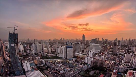 Thumbnail for Bangkok City Skyline Sunset TImelapse Fisheye