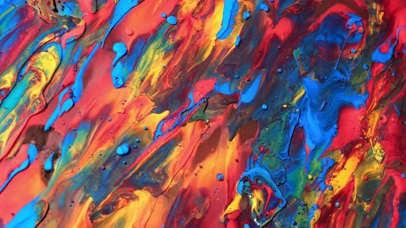 Multicolored Acrylic Paint. Fantastic Surface. Abstract Experiment Colorful Paint. Top View