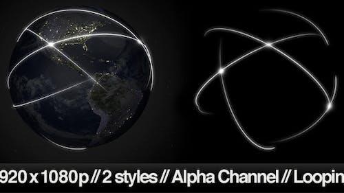 Data Communication Around Globe at Night -2 Styles