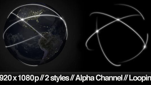 Thumbnail for Data Communication Around Globe at Night -2 Styles