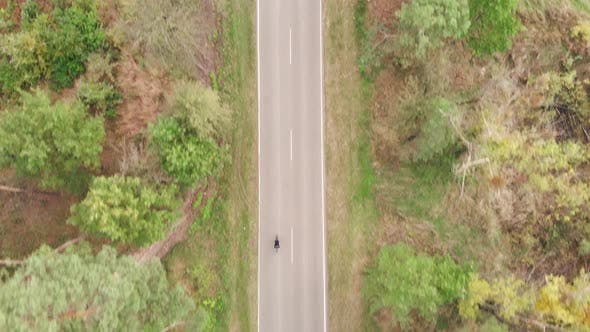 Thumbnail for Woman is riding fast on road bike on empty car road in autumn forest, Cyclist is pedaling on bike