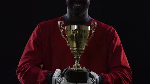Smiling Football Champion With Prize, Celebration Ceremony, Perfect Results