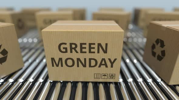 Thumbnail for Cartons with GREEN MONDAY Text Move on Conveyor