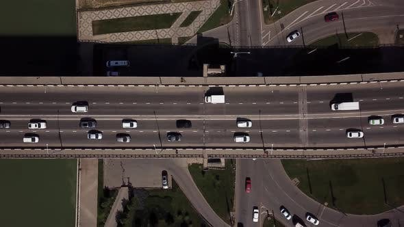 Thumbnail for Drone's Eye View -  Roads Aerial View of Urban Traffic Jam on a Car Bridge.