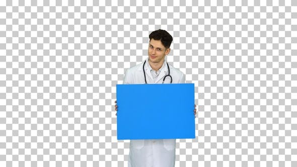 Thumbnail for Happy smiling male doctor showing blank signboard and dancing
