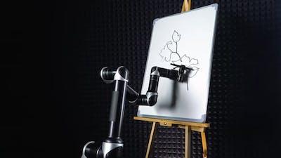 Programmed Robot Draws a Flowers, a Futuristic Robot Hand Draws a Marker on a Blackboard, Robot