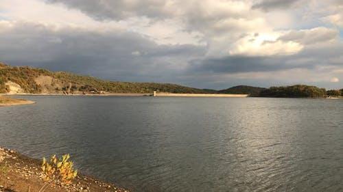Colors on lake of Bor  and water dam 4K 2160p 30fps UltraHD footage -Beautiful Eastern Serbian  natu