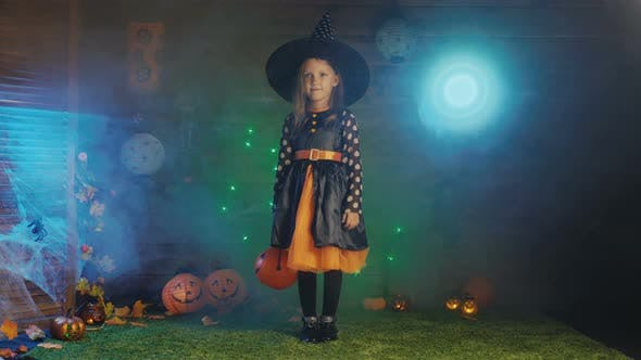 Thumbnail for Girl Child In A Witch Costume For A Scary Halloween Party