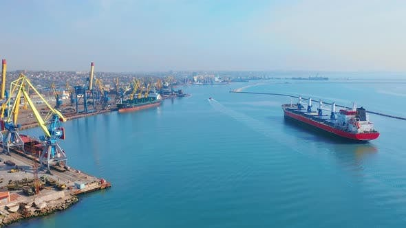 Thumbnail for Aerial Top View of Cargo Ship in Import Export Business Logistic and Transportation of International