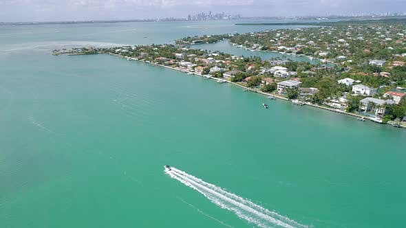 Thumbnail for Speed Boat Hyperlapse Aerial Florida Key Biscayne Miami Atlantic Ocean