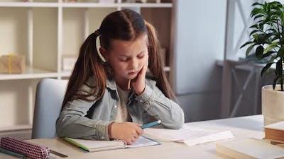 Studying Kid Children Education Smart Little Girl