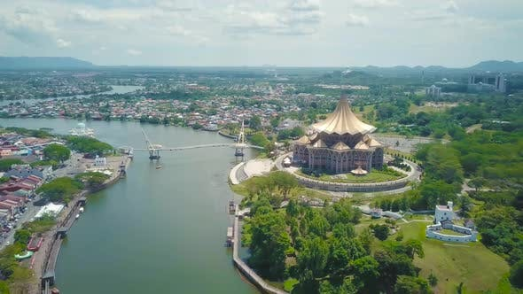 Thumbnail for Sarawak City View Drone Shot
