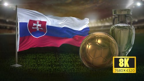 8K Slovakia Flag with Football And Cup Background Loop