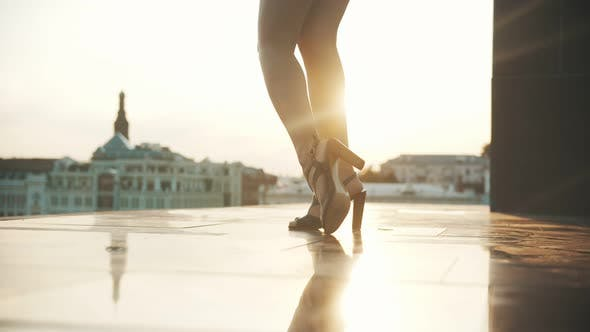 Thumbnail for Skinny Legs of Young Woman in High Heels - Performing Attractive Steps