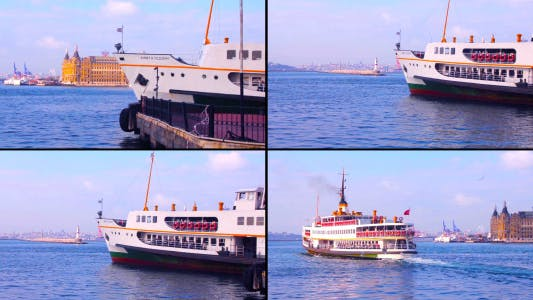 Thumbnail for Ferry Departing From Pier in Istanbul
