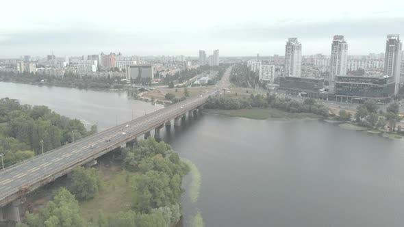Paton Bridge Across the Dnipro River in Kyiv, Ukraine. Aerial View