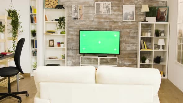 Thumbnail for Green Screen Tv in a Bright and Well Lit Living Room