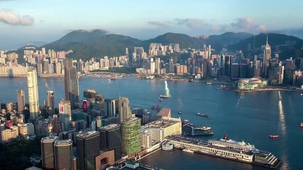 Cityscape Modern and Traditional Hong Kong Boats Sail