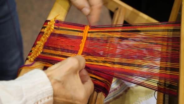 Old Antique Wooden Weaving Machine. Craftsmanship Concept. Craftsmanship Background. Traditional Old
