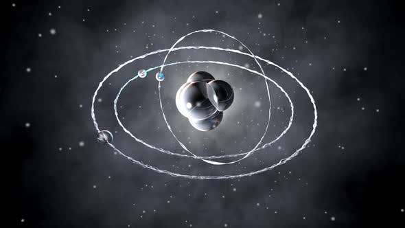Animation of a Atomic core with orbiting particles