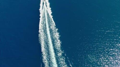 Speedboat on open water