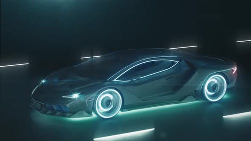 Sports Cyber Neon Car Rushes on the Night Road with Neon Lights