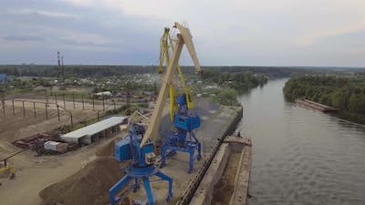Aerial viewRiver Port with Cranes and Ships