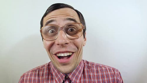 Surprised Funny Man in Glasses