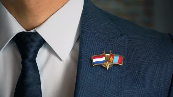Businessman Friend Flags Pin Netherlands Mongolia