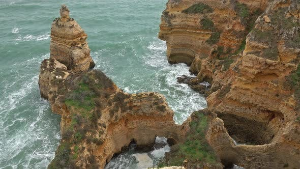 Thumbnail for Rock Cliffs and Waves in the Algarve, Portugal