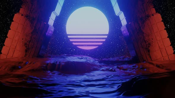 Thumbnail for Cyberspace Tunnel with Rocks and Sun