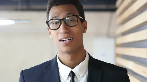 Thumbnail for Online Video Conference Black Businessman, Web Cam View Portrait