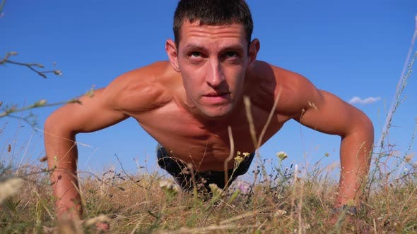 Thumbnail for Workout. Pushups Fitness Man Doing Push-ups Outside on Nature