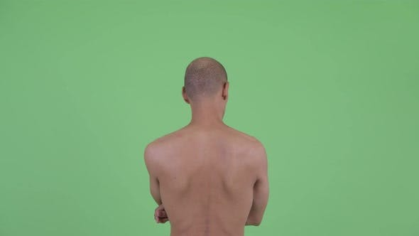 Thumbnail for Rear View of Bald Multi Ethnic Shirtless Man Pointing Finger